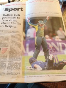 SS Ashes Win Back Page